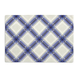 Blue & Black Criss Cross Custom Placemat Set - Is your table looking sad and lonely? Give it a boost with at set of Simple Placemats. Customizable in hundreds of fabrics, you're sure to find the perfect set for daily dining or that fancy shindig. We love it in this modern diamond trellis of interlocking blue, black & gray on white indoor outdoor fabric.