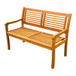 International Caravan - 2-Seater Outdoor Park Bench - All weather resistant and UV light fading protection. Made from pure yellow balau hardwood. Stain finish. Made in Vietnam. Assembly required. 48 in. L x 25 in. W x 35 in. H (56 lbs.)