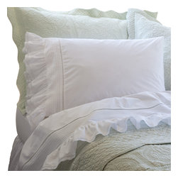 Taylor Linens - Prairie Crochet Queen Sheet Set - Pintucked, hemstitched and ruffled like an old-fashioned petticoat skirt, this sheet set has more vintage country charm than a Louisa May Alcott book. Delicate crochet lace edging gives it a final, ladylike touch.