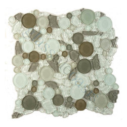 "Euro Glass - Icy Peak  Pebbles & Stones Green Lagoon Series Glossy Glass - Sheet size:  approx 1 Sq. Ft.        Tile Size:  Circles        Tile thickness:  1/4""        Sheet Mount:  Mesh Backed    Sold by the sheet     -"