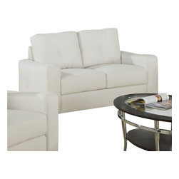 Monarch Specialties - Monarch Specialties I 8702IV White Bonded Leather Loveseat - This ivory bonded leather love seat will make a wonderful addition to your living room or den. Its contemporary shape enhances any room with big, plush back and box seat cushions. A stitched design enhances the back cushions, as well as the outsides of the square track arms. The slightly flared design creates an inviting feel, and tapered wooden block feet support this piece. Loveseat (1)