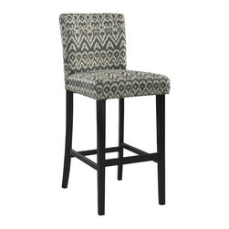 Linon - Linon Morocco Driftwood Bar Stool in Black - Linon - Bar Stools - 0226DRIF01KDU - The Driftwood Morocco Stool is a trendy, new-age seating solution for a counter, bar or table. The stool has a modern ikat design that is perfect for adding a splash of pattern and eye-catching style to your space. The straight lined, smooth legs are finished in a dark black.