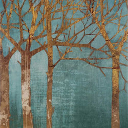 Paragon Decor - Golden Day Turquoise Artwork - Trees in shades of gold leap off a turquoise background.  Canvas features a gallery style wrap.