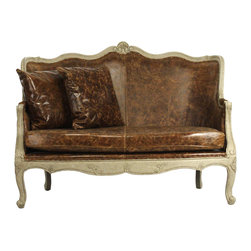 Kathy Kuo Home - Adele French Country Top Grain Leather Burlap Settee Loveseat - One of the most interesting elements in French country style is the use of texture to create contrast and interest between pieces.  This leather upholstered loveseat  illustrates this concept beautifully in one piece by combining formal lines with textural grained leather, jute upholstery on the back and a distressed sage green oak frame. Relaxed yet elegant; the essence of French Country style.