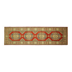 Manhattan Rugs - New Super Kazak Runner Hand Knotted Wool 3'x9' Red Veg Dyed Geometric Rug H5859 - Kazak (Kazakh, Kasak, Gazakh, Qazax). The most used spelling today is Qazax but rug people use Kazak so I generally do as well.The areas known as Kazakstan, Chechenya and Shirvan respectively are situated north of  Iran and Afghanistan and to the east of the Caspian sea and are all new Soviet republics.   These rugs are woven by settled Armenians as well as nomadic Kurds, Georgians, Azerbaijanis and Lurs.  Many of the people of Turkoman origin fled to Pakistan when the Russians invaded Afghanistan and most of the rugs are woven close to Peshawar on the Afghan-Pakistan border.There are many design influences and consequently a large variety of motifs of various medallions, diamonds, latch-hooked zig-zags and other geometric shapes.  However, it is the wonderful colours used with rich reds, blues, yellows and greens which make them stand out from other rugs.  The ability of the Caucasian weaver to use dramatic colours and patterns is unequalled in the rug weaving world.  Very hard-wearing rugs as well as being very collectable