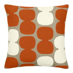 Judy Ross Textiles Coral/Cream Tabla Pillow - Make your retreat even more comfortable with this Tabla pillow by Judy Ross Textiles.