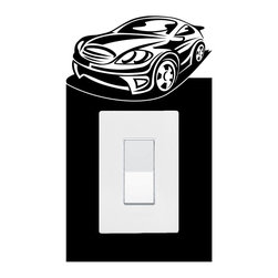 StickONmania - Lightswitch Sports Car #4 Sticker - A vinyl sticker decal to decorate a lightswitch.  Decorate your home with original vinyl decals made to order in our shop located in the USA. We only use the best equipment and materials to guarantee the everlasting quality of each vinyl sticker. Our original wall art design stickers are easy to apply on most flat surfaces, including slightly textured walls, windows, mirrors, or any smooth surface. Some wall decals may come in multiple pieces due to the size of the design, different sizes of most of our vinyl stickers are available, please message us for a quote. Interior wall decor stickers come with a MATTE finish that is easier to remove from painted surfaces but Exterior stickers for cars,  bathrooms and refrigerators come with a stickier GLOSSY finish that can also be used for exterior purposes. We DO NOT recommend using glossy finish stickers on walls. All of our Vinyl wall decals are removable but not re-positionable, simply peel and stick, no glue or chemicals needed. Our decals always come with instructions and if you order from Houzz we will always add a small thank you gift.