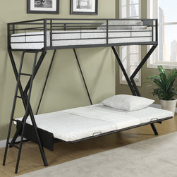 "Coaster - Twin/Twin Bunk Bed, Sandy Black - Create a fun and usable space in your youth bedroom with this unique twin-over-twin size convertible loft bed. The padded sofa easily convert to a twin size sleeping area, accommodating overnight stays from young guests. Available in sandy black, this convertible loft bunk bed is sure to fit nicely with your youth bedroom decor. The top bunk features a 125 lb weight capacity, and the bottom features a 150 lb weight capacity.; Contemporary Style; Finish/Color: Sandy Black; Bunkie Board Not Required; Dimensions: 76.50""L x 56""W x 68""H"