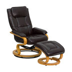 Flash Furniture - Contemporary Brown Leather Recliner and Ottoman with Swiveling Maple Wood Base - There's no better way to enjoy a movie, a book or just some down time than in a recliner. This set features a built-in pillowtop headrest, thickly padded arms and tastefully exposed wood frames. This uniquely designed recliner features a ball-bearing swiveling base that makes swiveling effortless. This set is not only perfect in the home, but makes for a great addition in the office. The durable leather upholstery allows for easy cleaning and regular care.