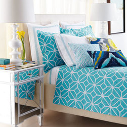 Trina Turk - Trina Turk King Comforter Set - Turquoise and white cotton bed linens with great graphic appeal. From Trina Turk. Embroidered accent pillows add touches of yellow. Imported. Turquoise and white trellis-print jacquard comforter sets include comforter and two shams. Queen set has stand...