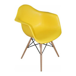 2 Eiffel Wood Arm Chair, Yellow - Bring a relaxed sense of style to your favorite living spaces with these eiffel armchairs. The retro simplicity of these classic white eiffel base accent chairs will instantly enhance the modernity of your room. Each of these contemporary chairs is made from durable molded plastic with an ergonomically-shaped and curved seat. The legs are wooden and include eiffel shape steel hardware in black as well as black plastic tips to protect sensitive flooring.