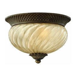Hinkley - Hinkley Plantation Two Light Pearl Bronze Outdoor Flush Mount - 2128PZ - This Two Light Outdoor Flush Mount is part of the Plantation Collection and has a Pearl Bronze Finish. It is Outdoor Capable, and Dry Rated.