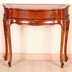 International Caravan - Hand Carved Wood Console Table with Storage D - Actual color may differ. 1 drawer with handle. 4 legged wall table. Constructed of Chinese Hardwood. Antique Cherry Gloss Finish. Minor Assembly. 15 in. W x 34 in. L x 30 in. H (22 lbs.)