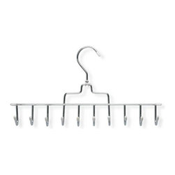 Honey Can Do - Horizontal Tie and Belt Hanger - Chrome plated steel. Sturdy & rust-resistant. 10 curved hooks. Hang accessories securely. Limited lifetime warranty. 14.25 in. L x 0.17 in. W x 7.5 in. H (0.75 lbs.)Honey-Can-Do HNG-01311 Horizontal Tie and Belt Hanger, Chrome/White. This versatile tie and belt hanger gets your accessories organized and saves space, too. Features a 360 degree swivel rod hook to hang items easily on any closet rod or wall hook. Durable metal construction with chrome finish and vinyl coating protects fine fabrics and leather. Ten hooks in all.