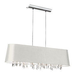 Dainolite - Dainolite BAR3410-693-PC 4 Light Horizontal Crystal Chandelier Pc Finish - Dainolite BAR3410-693-PC 4 Light Horizontal Crystal Chandelier PC Finish White Baroness Fabric Silver Lining