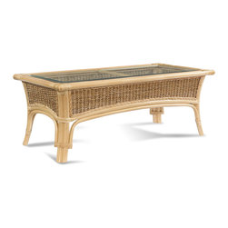 Wicker Paradise - Rattan Table: Tropical Breeze Coffee Table - Our Tropical Breeze Rattan Table will dazzle you with its fine workmanship of woven seagrass, solid rattan, and luxurious color. Every entertainment or indoor area should include a rattan table that balances the furniture pieces in the room. Adorn your rattan table with a vase of flowers, an album with photos of your children or grandchildren, or your favorite novel. Start enjoying your room more!     Tropical Breeze Rattan Coffee Table:   No assembly necessary  Wicker, seagrass and rattan table that is large and beautiful for entertaining  Buy as an accent coffee table or with our Tropical Breeze loveseat or sofa  Inset glass has a beveled-edge. Sits in top so glass stays still!