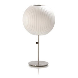 Nelson - Nelson | Lotus Table Lamp - Ball - Design by George Nelson, 1947.Made in the U.S.A. by Modernica.A mid-century classic, the Bubble Lamp was first designed by George Nelson in 1947 and was produced by Howard Miller starting in the early 1950s and ending in 1979. Our supplier has reissued the Nelson Bubble Lamps to the original specifications, using the original Howard Miller tooling. These famous lamps are part of the permanent collection of the Museum of Modern Art in New York.Table lamp with brushed nickel stem and  base. Steel frame with polymer covering. Pull switch located on lampholder.
