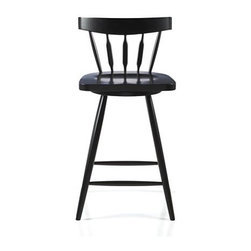 "Willa 24"" Swivel Black Stool - The ever-popular Windsor chair sits up and gets noticed as a swivel stool designed by Mark Daniel. Black beechwood frame brings the design up to date with slender spindle back, angled legs and subtle saddle seat. Seat features a 360-degree swivel and a foot rest for added comfort. 24 "" height accommodates counters."
