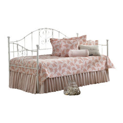 Hillsdale Furniture - Hillsdale Lucy Daybed - Hillsdale furniture's Lucy daybed is charming and whimsical. The simple white finish perfectly complements the flourished heart-shaped scrollwork and threaded spindles. A lovely addition to any home, the Lucy daybed is an especially wonderful option for a young girls bedroom. Add the optional trundle for sleepovers.
