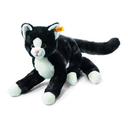 Steiff - Steiff Mimmi Dangling Cat - Steiff Mimmi Dangling Cat is made of cuddly soft black and white woven plush. Machine washable. Ages 3 and up. Handmade by Steiff of Germany.