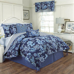 Waverly - Charismatic Delft Four-Piece Queen Reversible Quilt Set - - Bring your bedroom to life with the Waverly Charismatic Delft 4 Piece Reversible Quilt Collection. This whimsical Jacobean-based design has modern, free-flowing paisley shapes forming flowers and leaves. Pattern reverses to a playful chevron pattern with a contemporary ombre effect in shades of blue. The horizontal stacking of chevron stripes causes an explosive movement of color and instantaneous style.  - Queen set measures 88-Inch x 90-Inch with two 21-Inch x 26-Inch pillow shams and a 60-Inch x 80-Inch bed skirt with a 15-Inch drop  - Machine washable in cold water on the gentle cycle and tumble dry on low  - 100% cotton Waverly - 13964BEDDQUEDFT