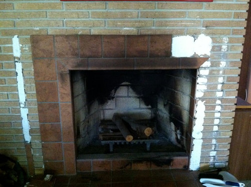Tile over brick fireplace - Tile over brick fireplace ...