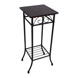 International Caravan - International Caravan Mandalay Square Plant Stand in Black - International Caravan - Accent Tables - 3456SQ - The International Caravan Mandalay Plant Stand is made from premium wrought iron in a beautiful black finish. This plant stand holds one plant comfortably and its square flat wood top design ease of assembly is perfect for any corner of your home.