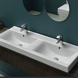 CeraStyle - Rectangular Double White Ceramic Wall Mounted, Vessel, or Self-Rimming Sink - This contemporary 47 inch wall mounted, vessel or self-rimming bathroom sink features two basins and two faucet holes. Each sink includes an overflow. Sink is made out of high-quality ceramic. Made and designed by well known Turkish brand CeraStyle. ADA Compliant. Rectangular double white ceramic sink. Wall mounted, vessel, or self rimming sink. Includes 2 overflows and 2 faucet holes. Standard drain size of 1.25 inch. Made and designed by well known brand CeraStyle.