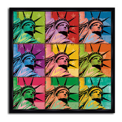 MonDeDe - Pop Liberty - You love lady liberty but red, white and blue just doesn't go with your color scheme. Luckily this vibrant pop art piece is perfect for your eclectic, modern home.