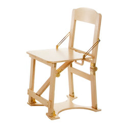 "Spiderlegs - Spiderlegs CCHAIR-NB Hand Crafted Custom Finished Folding Chair in Natural Birch - Spiderlegs hand crafted portable wooden folding chairs, with a patent pending folding design and patented locking hardware are made in the USA and crafted from Baltic Birch ply. Custom finished per order in any of a variety of available stain colors and polyurethane finish coats. Available finishes include Lt Cherry, Lt Walnut, Dark Walnut, Golden Oak, Red Mahogany, and Natural Birch. The chair is designed to accommodate one adult, with a recommended load limit of 250 lb. The chair double folds for easy storage and has its own built in handle for easy transport. The folded dimensions are 18"" x 21"" x 4"". The locking hinges prevent each chair from unintentionally folding when opened. Hinge locks may be easily released by pressing the solid brass lock buttons between the thumb and a finger. Each chair may be made for indoors or temporary outdoors use, and is built comfortable dining chair height. Designed to match Spiderlegs folding tables. The folded chair be store under a bed, in a closet, car trunk, RV bins, etc. Clean with a damp cloth. Renew wood surfaces with wood care products. US Patent numbers 6,779,466 and 7,337,728. The chair includes a full one year warranty. Folding Chair (1)"