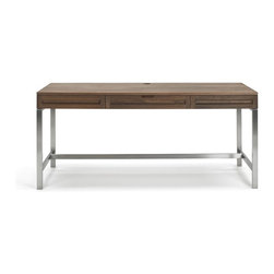 """Jesper - Jesper - Highland Collection - Solid Wood 64"""" Desk W/ Steel Base - Walnut - Handmade in the USA of solid North American Cherry or Black Walnut from FSC-certified local forests, this hand-crafted product is finished with a pure hand-rubbed oil finish. Simply choose your size, finish and a wood or steel base to create the look that is right for you."""