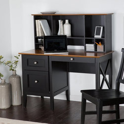 Belham Living - Belham Living Hampton Desk with Optional Hutch - Black/Oak - DONU041 - Shop for Desks from Hayneedle.com! Featuring a solid wood construction oak veneers and a gorgeous two-tone black/oak finish the The Hampton Desk with Optional Hutch - Black/Oak is a both beautiful and functional addition to your home office. This desk has a tray drawer with a built-in organizer for pens and stationery a side drawer; and a bottom drawer that can hold letter or legal file folders. The optional hutch has plenty of cubbies to keep your essentials organized along with a wire management cutout to accommodate your computer. Dimensions: Desk: 47W x 22D x 30H inches Hutch: 46W x 10D x 20H inches