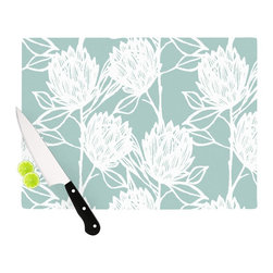 """Kess InHouse - Gill Eggleston """"Protea Jade White"""" Blue Flowers Cutting Board (11.5"""" x 15.75"""") - These sturdy tempered glass cutting boards will make everything you chop look like a Dutch painting. Perfect the art of cooking with your KESS InHouse unique art cutting board. Go for patterns or painted, either way this non-skid, dishwasher safe cutting board is perfect for preparing any artistic dinner or serving. Cut, chop, serve or frame, all of these unique cutting boards are gorgeous."""