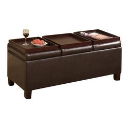 "Coaster - Storage Ottoman (Dark Brown) By Coaster - Brown Vinyl Storage Ottoman Coffee Table with Trays. Dimensions: 42""W x 17""D x 16.5""H. Finish: Dark Brown. Material: Leather like Vinyl. Contemporary Leather like Vinyl Storage Ottomans. Item features three flip top trays. Simple assembly required."