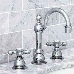 """Gooseneck Faucet, Antique Pewter finish - Built to the highest industry standards, our low-flow Gooseneck Faucet is crafted of solid-brass components with a choice of four beautiful finishes.Fits sink openings with an 8"""" widespread.A pre-installed aerator restricts water flow to 2.0 GPM.Professional installation required.{{link path='pages/popups/sink_goose_fau_popup.html' class='popup' width='720' height='800'}}Learn more{{/link}} about how to install this faucet. View our {{link path='pages/popups/fb-bath.html' class='popup' width='480' height='300'}}Furniture Brochure{{/link}}. Catalog / Internet Only."""