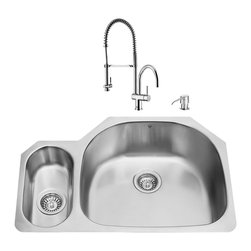 "VIGO Industries - VIGO All in One 32-inch Undermount Stainless Steel Kitchen Sink and Chrome Fauce - Enhance the look of your kitchen with a VIGO All in One Kitchen Set featuring a 32"" Undermount kitchen sink, faucet, soap dispenser, matching bottom grids and strainers."