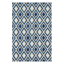 "Loloi Rugs - Loloi Rugs Weston Collection - Ivory / Blue, 2'-3"" x 7'-6"" - Feast your eyes on this. Hand-tufted in India of 100% wool, the tastefully designed Weston Collection features vibrant colors and bold, graphic patterns that instantly uplift the mood of your room. What's more, each Weston rug is crafted with a combination of colorful cut pile and ivory loops - adding a sense of depth and drama to these amazingly textural rugs."