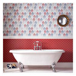Graham & Brown - Beside the seaside Wallpaper - Quirky and contemporary, our wonderful seaside design wallpaper features a motif of traditional beach huts in beautifully British red white and blue! This is a bright and summery design that brings colour and light to any room, but with its fun seaside theme and lively palette we think this would be the perfect choice for bathrooms or children_s play rooms.