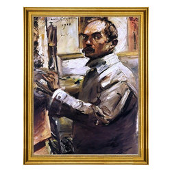 """Lovis Corinth-18""""x24"""" Framed Canvas - 18"""" x 24"""" Lovis Corinth Self Portrait in a White Smock framed premium canvas print reproduced to meet museum quality standards. Our museum quality canvas prints are produced using high-precision print technology for a more accurate reproduction printed on high quality canvas with fade-resistant, archival inks. Our progressive business model allows us to offer works of art to you at the best wholesale pricing, significantly less than art gallery prices, affordable to all. This artwork is hand stretched onto wooden stretcher bars, then mounted into our 3"""" wide gold finish frame with black panel by one of our expert framers. Our framed canvas print comes with hardware, ready to hang on your wall.  We present a comprehensive collection of exceptional canvas art reproductions by Lovis Corinth."""