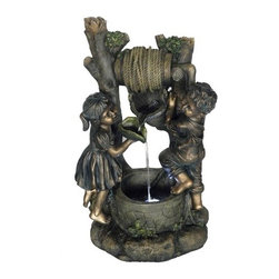 "Garden Statuary,   30"" Garden Boy and Girl - Garden Boy and Girl. Features a bronze finish and natural stone look although its made of durable outdoor light weight fiberglass resin"