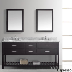 VIRTU - Virtu USA Caroline Estate 72-Inch Double Sink Bathroom Vanity Set - The Caroline Estate 72-inch double sink vanity set is equipped with soft three closing doors. An Italian white Carrara countertop and two sets of pre-drilled wide-spread hole faucet holes completes this design.