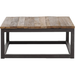 Zuo Modern - Zuo Modern Civic Center Distressed Square Coffee Table - Civic Center Distressed Square Coffee Table. This industrial-inspired table is streamlined to fit a contemporary space--perfect for a chic yet relaxed style. The Civic Center Distressed Square Coffee Table from Zuo Modern is crafted from thick elm planks with a geometric metal base. The neutral tones of this piece look great with any color scheme. Use in the living room for extra tabletop space--a necessity for those who like to entertain. We call that good industry.Made from elm and metalSome assembly requiredShips in one week