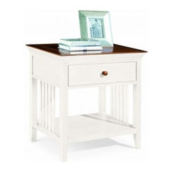 """American Drew 181-400WC Drawer Night Stand - White w/ Cherry Top Sterling Pointe - Drawer Night Stand - White w/ Cherry Top - American Drew Sterling Pointe Collection 181-400WCFeatures:1 Shelf1 DrawerThis Price Includes:Drawer Night Stand - White w/ Cherry TopItem:Weight:Dimensions:Drawer Night Stand - White w/ Cherry Top48 lbs26"""" W X 17"""" D X 28"""" HManufacturer's Materials:Maple and Hardwood SolidsMaple & Poplar Veneers & Simulated Wood Components"""