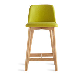 Blu Dot - Blu Dot Chip Counterstool, White Oak / Bright Green - No dash of flash needed. Pleasing comfort, timeless form, and a hardy build makes Chip a poised seating fix for any space.  Available in chair, barstool and counterstool.Solid ash with smoke stain or white oak legs, 100% polyester fabric, Foam wrapped plywood seat