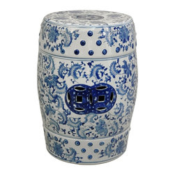Oriental Unlimited - 18 in. High Blue & White Floral Lacquered Por - Attractive and practical. Use as a stool or as a drink table. Solid, high temperature, durable fine Chinese porcelain. 13 in. Dia. x 18 in. H (20 lbs.). Seat: 11 in. Dia.