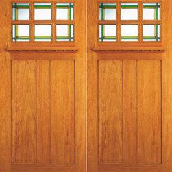 """6-Lite Stained Glass Craftsman Style, Mahogany Double Front Doors - SKU#AC-703-A_2BrandAAWDoor TypeExteriorManufacturer CollectionArts and Crafts Front DoorsDoor ModelDoor MaterialWoodgrainVeneerPrice1400Door Size Options2(30"""") x 80"""" (5'-0"""" x 6'-8"""")  $02(36"""") x 80"""" (6'-0"""" x 6'-8"""")  +$9802(36"""") x 84"""" (6'-0"""" x 7'-0"""")  +$10602(36"""") x 96"""" (6'-0"""" x 8'-0"""")  +$1760Core TypeDoor StyleCraftsman , MissionDoor Lite Style6 LiteDoor Panel Style2 PanelHome Style MatchingCraftsman , Prairie , Bungalow , Mission , Arts and CraftsDoor ConstructionPrehanging OptionsPrehungPrehung ConfigurationDouble DoorDoor Thickness (Inches)1.75Glass Thickness (Inches)3/4 , 1/2Glass TypeTriple GlazedGlass CamingGlass FeaturesBeveled , Tempered , InsulatedGlass StyleStainedGlass TextureStainedGlass ObscurityDoor FeaturesDoor ApprovalsFSCDoor FinishesDoor AccessoriesWeight (lbs)850Crating Size25"""" (w)x 108"""" (l)x 52"""" (h)Lead TimeSlab Doors: 7 daysPrehung:14 daysPrefinished, PreHung:21 daysWarranty"""