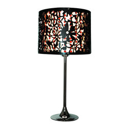 Trans Globe Lighting - RS-611 BK/RD 1 Light Table LampTraditional Lamps Collection - Paisley cut out print in black plastic with bead streamers. Whimsical fun for a teenagers room or side table reading lamp
