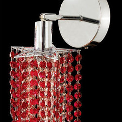 Elegant Lighting - Mini Star Chrome One-Light Bath Fixture with Royal Cut Bordeaux Red Crystal and - Royal Cut crystal is a combination of high quality lead free machine cut and machine polished crystals and full-lead machined-cut crystals to meet a desirable showmanship of an authentic crystal light fixture.  -Recommended to be professionally hung and supported independently of the outlet box. Consult an electrician for guidance to determine the correct hanging procedure.  -Crystals may ship separately and some assembly is required.  -Depending on the size & design the assembly can be time consuming, but is well worth the effort. Elegant Lighting - 1281W-R-P-BO/RC