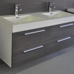 "Alnoite Bathroom Vanity - 54"" wall mounted bathroom vanity featuring 4 drawers for maximum storage. Constructed with high quality veneers, and soft close hardware. Vanity includes double sink basin, and 2 pop-up drains. Available in 2-Tone Grey Oak Drawers, Gloss White Vanity"
