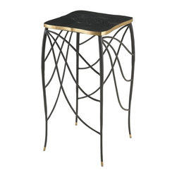 Our Collection - Art Nouveau-Inspired Side Table - Side table with black penshell top and delicate shaped metal legs.